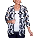 Alfred Dunner Women's Lattice Two-for-One Top