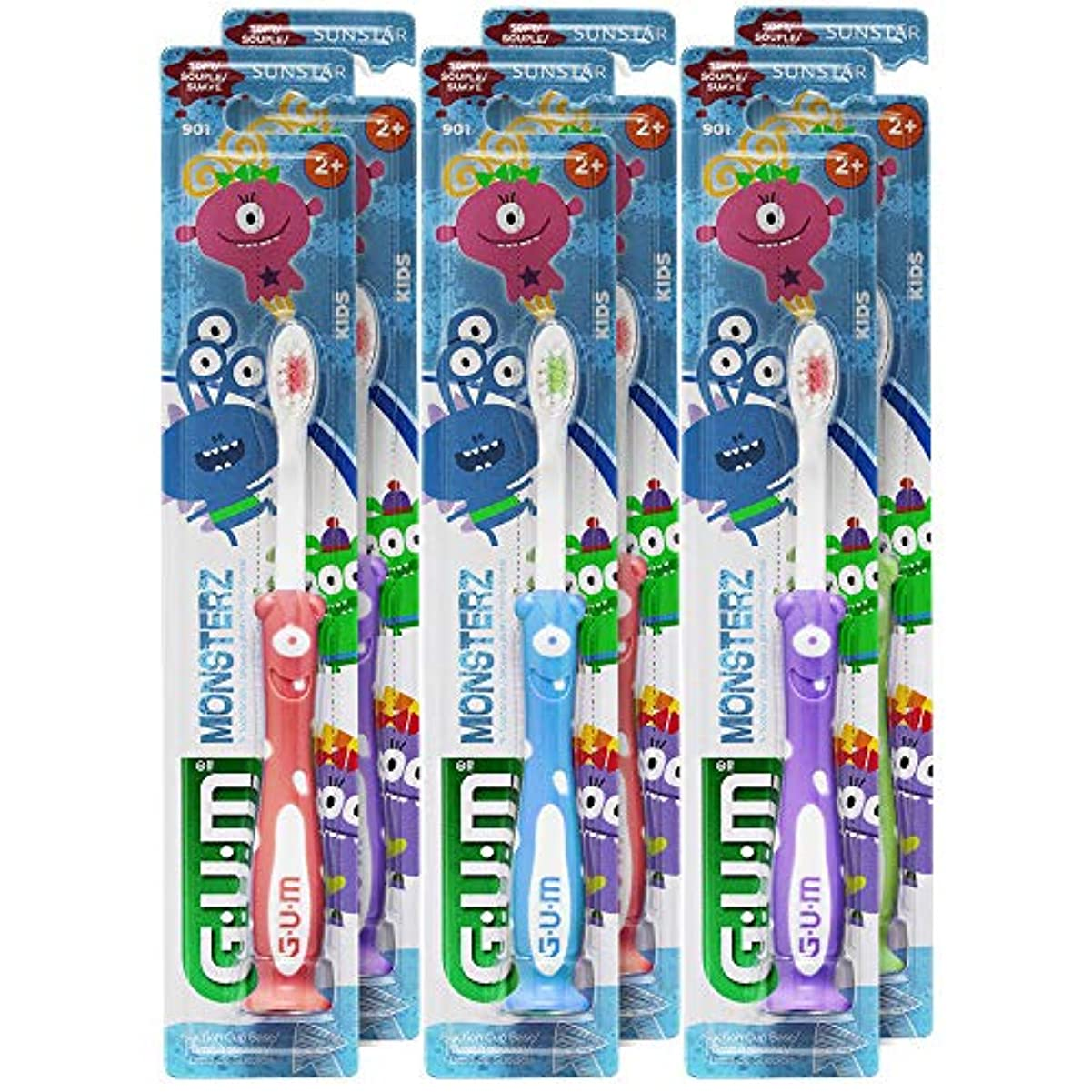 徒歩で最も早い外科医GUM Monsterzモンスターズキッズ/幼児歯ブラシ、子供2+、ソフト、(6パック)