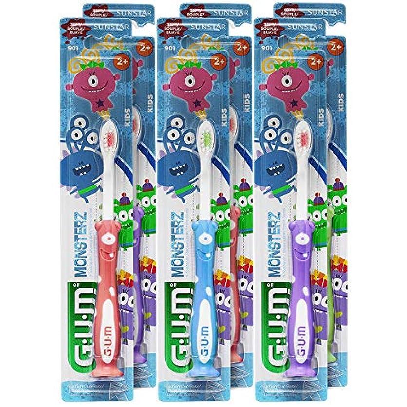 問い合わせる優れました樹皮GUM Monsterzモンスターズキッズ/幼児歯ブラシ、子供2+、ソフト、(6パック)