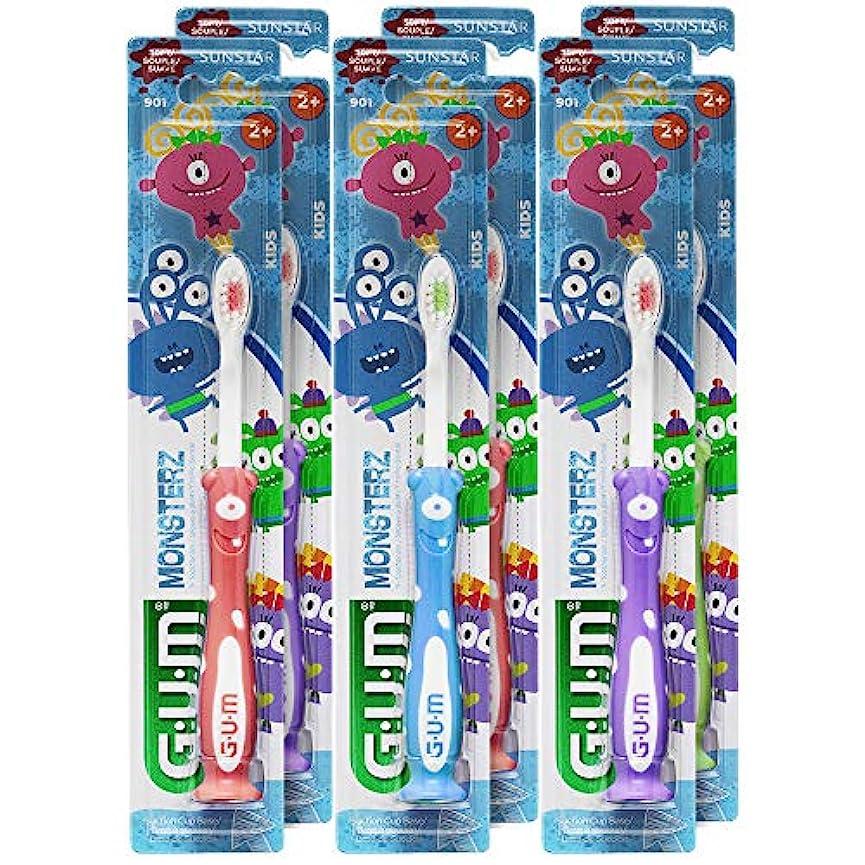 埋める弱い欠伸GUM Monsterzモンスターズキッズ/幼児歯ブラシ、子供2+、ソフト、(6パック)