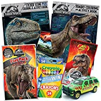 colorboxcrate Jurassic World Fallen Kingdom Coloring Book Toy Set by 7パック – Includes TrexアクティビティBooks, Mystery Jurassic Parkマッチボックス車、クレヨン、恐竜キャンディ4 – 10歳以上の子供