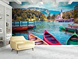 Mbwlkj 3D 壁画の風景アルプス・レイクタウンの風景壁紙 3 カスタマイズ D 滝テレビ背景リビングルームキッチンベッドルームスタディ-400Cmx280Cm
