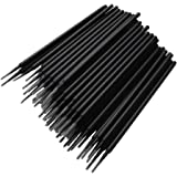 400 Pcs/pack Disposable Micro Brushes Individual Lash Removing Tools Durable Cotton Swabs Micro Applicator, Black, Cylinder(1