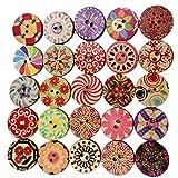 SONONIA  裁縫用 工芸 20mm 木製 丸型 2穴 ボタン 花柄 飾りボタン 100pcs