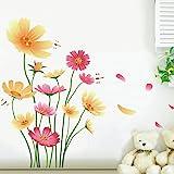 Chrysanthemums Butterflies Dragonflies Garden Wall Decal PVC Home Sticker House Vinyl Paper Decoration Wallpaper Living Room