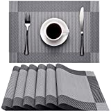 Placemats, Heat-Resistant Non-Slip Placemat Washable Easy to Clean Eco-friendly PVC Placemats for Home, Restaurant, Kitchen, Hotel, Coffee shop 6 Pack