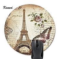 knsevaラウンドマウスパッドカスタマイズされたデザイン、エレガントなヴィンテージパリエッフェル塔蝶花柄アート Circular 1