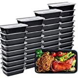 IUMÉ Meal Prep Containers, 50 Pack Disposable Plastic Bento Insulated Lunch Box Reusable Healthy Food Storage with Lids for M