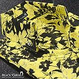 (ブラックバリア) BLACK VARIA シャツ スキッパー 花柄 薔薇 バラ柄 ドレスシャツ サテンシャツ ボタンダウン 日本製 結婚式 イエロー黄ブラック黒 935132 M