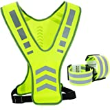 TOURUN Reflective Running Vest Gear with Pocket for Women Men Kids, Safety Reflective Vest Bands for Night Cycling Walking Bi