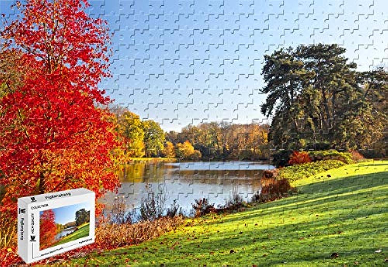 PigBangbang,20.6 X 15.1インチ、堅い木製箱に入った有名な絵画、明るくカラフル- 秋の湖の木、葉、自然の景色 - 300ピースのジグソーパズル