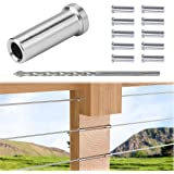 """Muzata Stainless Steel Protective Protector Sleeves Grommet for 1/8"""" Deck Cable Railing Kit,Wood Posts,DIY Balustrade,T316 Ma"""