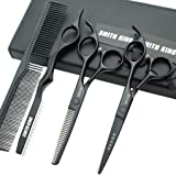 5.5 Inches Hair Cutting Scissors Set with Razor Combs Lether Scissors Case,Hair Cutting Shears Hair Thinning Shears for Perso
