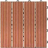 ウッドデッキパネル ライトブラウン 6枚セット : ジョイント式 人工木 30x30cm