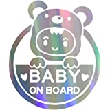 Baby on Board Sign for Car, Caution Decals Reflective Kids Safety Warning Sticker Marks for Driver, Heat Resistant, Long Last