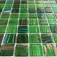 """虹色エメラルドグリーンガラスBacksplash mesh-mounted 3/ 4x 3/ 4""""モザイクタイルのキッチンバスルーム Sample GM04"""