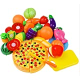 KAREZONINE Cutting Fruits Vegetables Set, 24 Pack Play Kitchen Plastic Cutting Food for Kids Pretend Play Kitchen Toys Educat