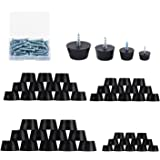 48PCS 4 Size Anti Scratch Screw-on Round Black Rubber Feet Bumpers Pads W/Matching Screws & Built-in Stainless-Steel Washer C