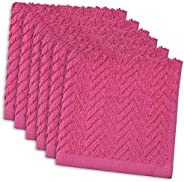 DII 100% Cotton, Everyday Kitchen Basic, Heavy Duty Bar Mop, Drying & Cleaning, 12 x 12 Zig Zag Weave Dishcloth, Set of 6- N