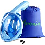 WONICE Snorkel Mask Full Face for Adults and Kids,Dry Top System Safe Breathing,180°Panoramic View Anti-Fog Anti-Leak,with Ca