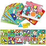 Sillbird 早期教育玩具 ボタンアート カラー 幾何学形状 モザイクボードパズルゲーム 幼児 幼稚園児用