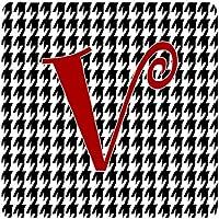 "Caroline 's Treasures cj1035-vfc monogram-houndstoothブラックFoam Coasters ( Set of 4)、初期手紙V、3.5"" H x 3.5"" W ,マルチカラー"