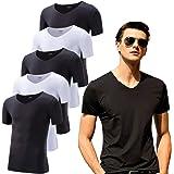 インナーシャツ メンズ 半袖 黒白 Vネック 5枚組 シームレス 切りっぱなし Tシャツ 抗菌防臭 速乾 肌着 インナー…
