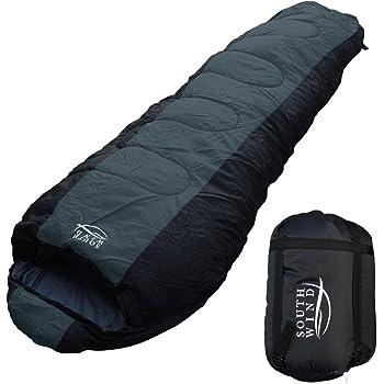 【SOUTH WIND】丸洗いのできる 寝袋 シュラフ マミー型 耐寒温度 -10℃ コンパクト収納 オールシーズン