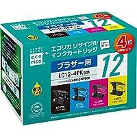 エコリカ リサイクルインク BROTHER LC124PK 4色セット(B/C/M/Y) 互換 ECI-BR124P/BOX