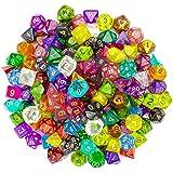 Wiz Dice Series II 100+ Pack of Random Polyhedral Dice - 15 Guaranteed Sets of Random Colours