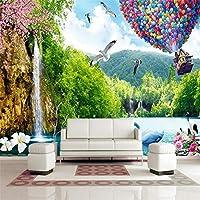 Bzbhart 風景バルーン白鳥石花テレビ壁カスタム大型壁画グリーン壁紙-120cmx100cm