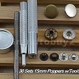 金属ツール スナップファスナー プレススタッズ カシメ打ち ブロンズ、シルバー、各15セット 15㎜