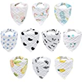 10-Pack Baby Bibs, HECCEI Bandana Drool Bibs for Drooling and Teething, 100% Organic Cotton, Soft and Absorbent, Hypoallergen