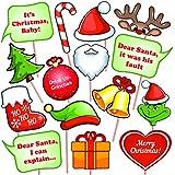 クリスマス写真ブース用小道具キット (15個)、DIYパーティーの記念品、スティック付き。 おもしろクリスマス自撮りアクセサリー 大人&子供用 テーマ装飾 新年用品