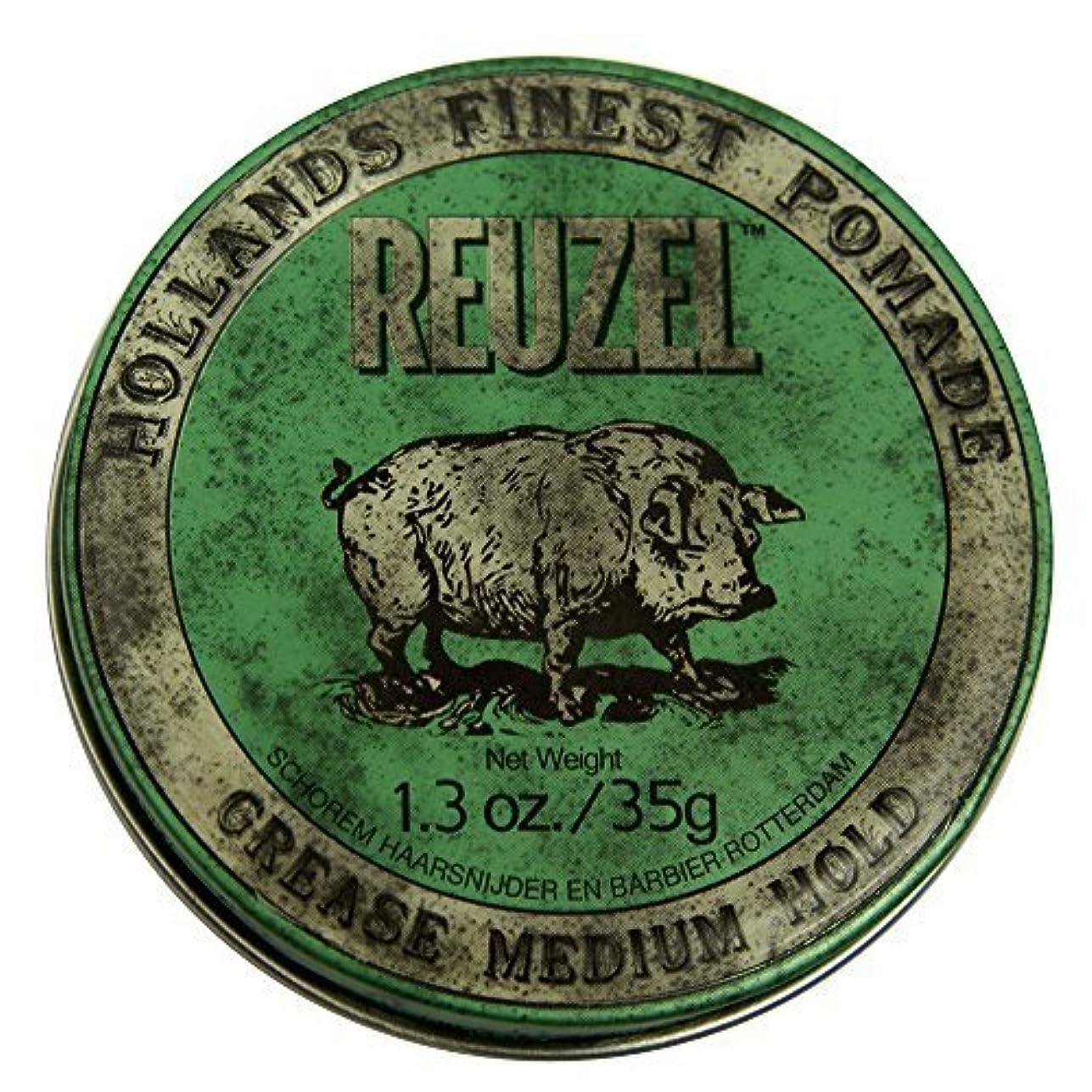 穿孔する多数の看板by Reuzel Reuzel Green Grease Medium Hold Hair Styling Pomade Piglet 1.3oz (35g) Wax/Gel [並行輸入品]
