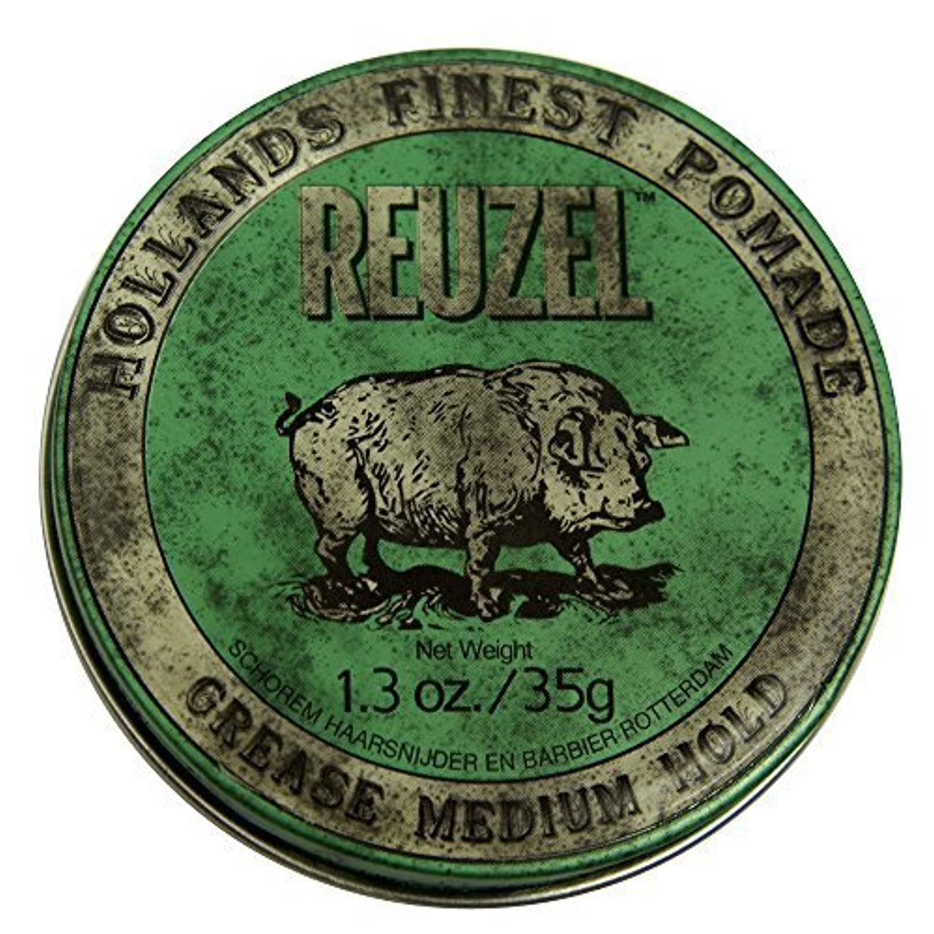本苦悩アクションby Reuzel Reuzel Green Grease Medium Hold Hair Styling Pomade Piglet 1.3oz (35g) Wax/Gel [並行輸入品]