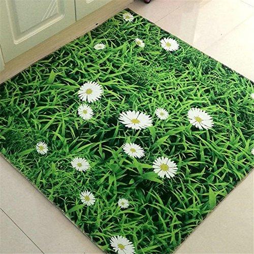 MONOFUN玄関マット  キッチンマット  浴室マット 3D おしゃれ 滑り止め (50*80CM, 緑)