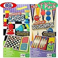 Ideal Magnetic-Go Chess & Backgammon Magnetic Travel Games Gift Set Bundle - 2 Pack