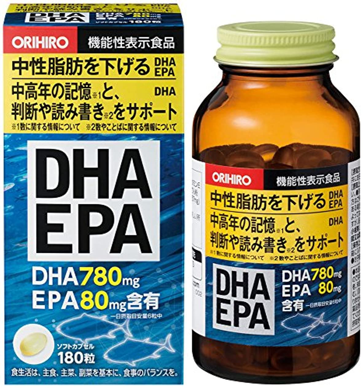 ミニチュア訪問眠いですオリヒロ DHA?EPA 180粒 [機能性表示食品]