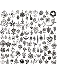 Niome 100 Pcs/Set Lots Silver Assorted Jungle Styles Charms Pendants DIY Jewelry for Necklace Bracelet Making Accessaries
