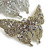 [蝶 ヘアアクセサリー]大きな蝶 頭の形にぴったりフィットで一体感 バレッタ