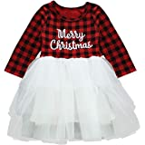 Toddler Baby Girls Merry Christmas Plaid Graphic Print Ruffle Tulle Princess Tutu Dress Xmas Party Outfit Dress