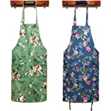 HOMKIN Women Kitchen Apron-2 Pack, Cotton Canvas Flower Apron, Floral Pattern Apron with Pockets for Women Chef Apron(Green&B