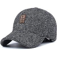 YAKER Men's Winter Warm Woolen Peaked Baseball Cap Hat With Earmuffs Metal Buckle (B Grey)