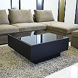 GENERAL SHAPE(ジェネラル シェイプ) センターテーブル ガラステーブル ローテーブル コーヒーテーブル オークブラック 黒 木製 引き出し 収納 国産 完成品 [GS-BOXY GLASS TABLE / 80角 正方形 /BK]