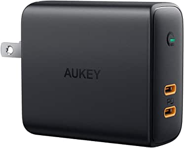 AUKEY 急速充電器 アダプタ wall charger 36W Power Delivery3.0対応 USB-C2ポート 折り畳み式プラグ iPhone, iPad Pro(11インチ、2018), MacBook, Galaxy S9 / S9+, Xperia XZ1/iPhone 11/11 Pro/11 Pro Max その他USB-C機器対応 PA-D2【PSE認証済み】