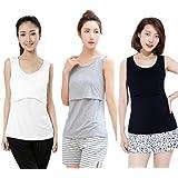 授乳 タンクトップ 年中使える 授乳服 マタニティ ウェア 3色 セット (白 黒 グレー)