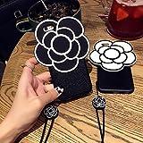 iPhone8ケース7 8PLUS スマホケース バラプリント カメリア 2カラー ネックレス付き ブラック 7/8 【1点】