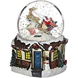Musicbox Kingdom Snow Globe with Santa and Sleigh装飾ボックス