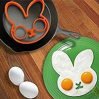 KaLaiXing Perfect Egg Molds for Sunny Side Up卵。シリコン動物Shaped朝食目玉焼き金型メーカー金型--ウサギ